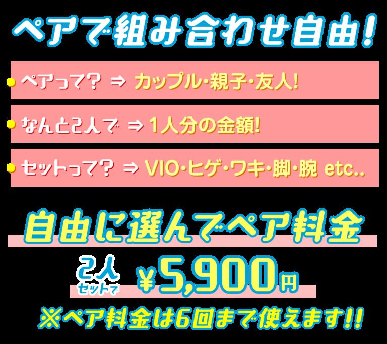 自由に選んでペア料金!2人セットで5,900円です。